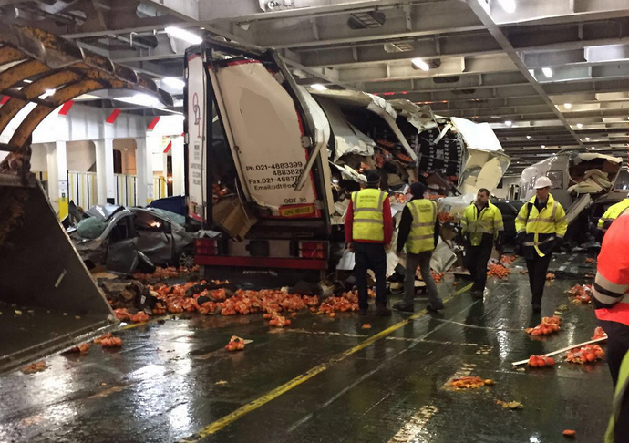 Cars and Lorries Mangled on Irish Ferries by Storm Imogen ...