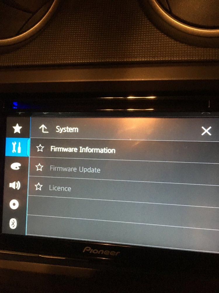 pioneer avh-2300nex firmware update menu grayed out