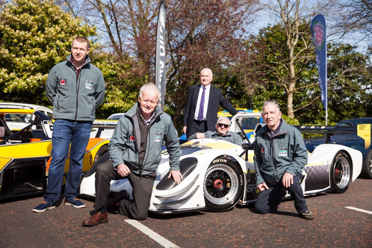 L-R; Championship coordinator, Alan Cassells; Murray Harrison of Jem Oils; North Down and Ards Borough representative, Gordon Dunne MLA; Reigning champion, Gerard O'Connell; John Rice of Jem Oils at the launch of the 2019 ANICC Millers Oils Northern Ireland hillclimb championship.