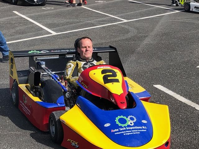 """Liam Fox, getting """"in the zone"""" before the Superkarts race.(S3)"""