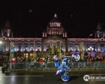 Galway stunt rider Mattie Griffin defying the laws of physics aboard his BMW motorcycle on the streets of Belfast City Centre during the Red Bull Racing Formula One display...