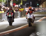 Local motorcycle racing legends, Jeremy McWilliams and Ryan Farquhar enthralled thousands with their high-octane two-whee display at the Red Bull Formula One event in Belfast City Centre...