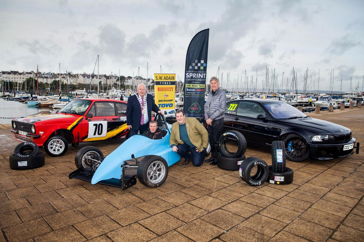 Pictured at the launch of the 2020 S.W. Adair Tyres Northern Ireland Sprint Championship is L-R; Mayor of Ards and North Down, Alderman Bill Keery; Competitor, Portaferry's Brian Fitzmaurice; NI Sprint Championship co-ordinator, David Evans; Championship sponsor, Bill Adair.(S3)