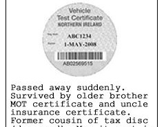 The Northern Ireland MOT disc - An obituary