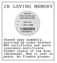 The Northern Ireland MOT disc - An obituary