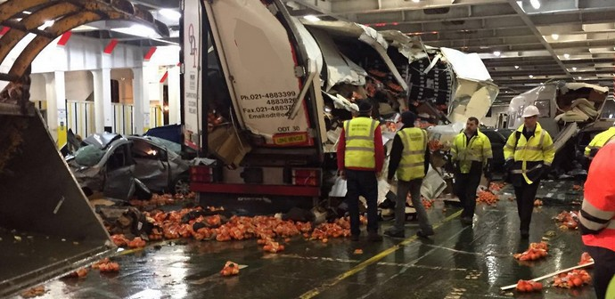 Cars and Lorries Mangled on Irish Ferries by Storm Imogen